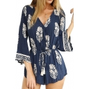 Navy Ethnic Print V-Neck Long Sleeve Romper