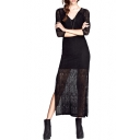Black Longline Slim V-Neck Crocheted Side Split Dress