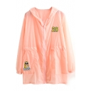 Pink Sheer Embroidered Long Sleeve Hooded Coat