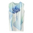 Blue Floral Print Round Neck Sleeveless Mesh Insert Dress
