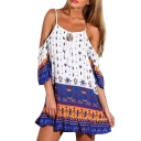 Tribal Print Off The Shoulder Flared Dress