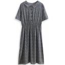 Floral Print Lapel Short Sleeve Midi Dress