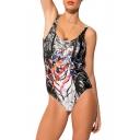 Black Scoop Neck Tiger Print Open Back Swimwear