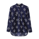 Navy Long Sleeve Stand Collar Porcelain Pattern Shirt