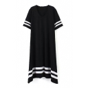 Black Short Sleeve Stripe Asymmetric Hem Dress