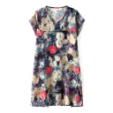 Round Neck Short Sleeve Ink Color Flower Smock Dress
