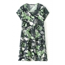 Round Neck Short Sleeve Green Leaves Smock Dress