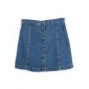 Blue Button Down Plain Denim Full Skirt