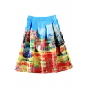 Multi Color Landscape Print High Waist Mini Skirt