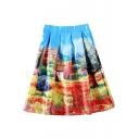 Multi Color Landscape Print High Waist Mini Skirt