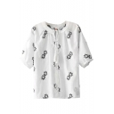Embroidered Floral Tied Front Half Sleeve Top