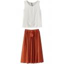 White Round Neck Tank with Orange Drawstring Waist Skirt