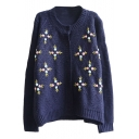 Rural Style Manual Embroidered Flower Round Neck Button Fly Cardigan