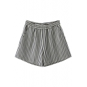 Elastic High Waist Stripe Shorts