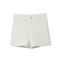Hot White High Waist Plain Denim Shorts with Button Details