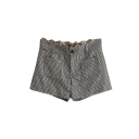 Hounderstooth Print Wave Trim Waist Pockets Denim Shorts