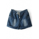 Dark Blue Roll Cuff Drawstring Waist Denim Shorts