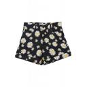 Daisy Print Black High Waist Shorts