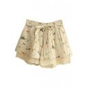 Cream Cartoon Print Lace Hem Bow Tie Culottes