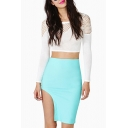 Blue Asymmetrical Hem Fitted Midi Skirt