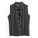Striped Lapel Sleeveless Single-Breasted Chiffon Shirt