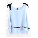Round Neck Sleeveless Bow Shoulder Layered Blouse