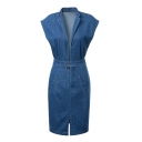 Blue Cap Sleeve Lapel Denim Slim Dress