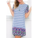 Short Sleeve Vintage Tribal Pattern Print Dress