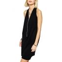 Black V-Neck Zipper Cutout Sleeveless Dress
