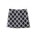 Black Vintage Plaid Flora Bodycon Skirt