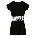 Waist Hollow Letters Print Short Sleeve A-line Street Dress