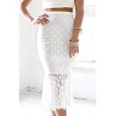 White Polka Dot Print Ruffle Hem Fitted Skirt