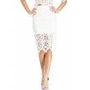 Plain High Waist Lace Crochet Pencil Skirt