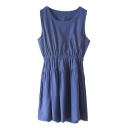 Dark Blue Linen A-line Tanks Dress