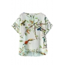 White Short Sleeve Plants Bird Print Chiffon Blouse