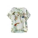 White Short Sleeve Plants Bird Print Chiffon Blouse