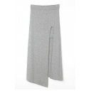 Light Gray Split Front Asymmetric Hem Longline Skirt