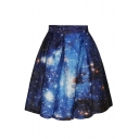 Blue Galaxy Print Flare A-Line Skirt
