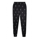 High Elastic Wait Cross Flag Print Pants
