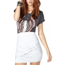 Skinny White Asymmetric Elastic Waist Mini Skirt