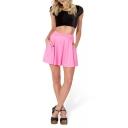Fresh Plain Candy Color Pleated Skirt