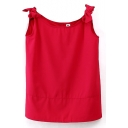 Red Bow Shoulder Sleeveless Buttons Blouse