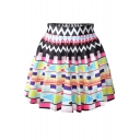 Multi Color Geometry Pattern Print Skater Skirt
