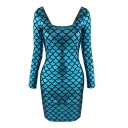 Blue Long Sleeve Square Neck Fish Print Bodycon Dress