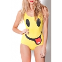Yellow Smile Face Print One Piece Swimsuit