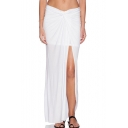 White Draped High Waist Chiffon Split Skirt