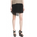 Plain Mini Skirt with Asymmetrical Hem