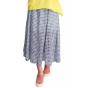 Checker Print Elastic Waist Tea Length Skirt