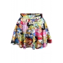Adventure Time Theme Print Pleated Mini Skirt