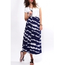 Tie Dye Print Tea Length A-line Skirt